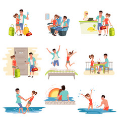 family couple traveling on summer holidays set vector image