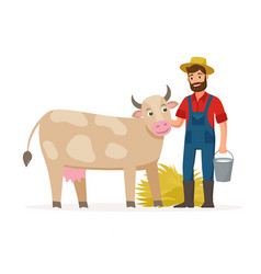 farmer with a cow and bucket with milk and hay vector image