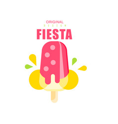 Fiesta original logo design label with pink ice vector