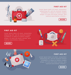 first aid kit landing page templates set medical vector image