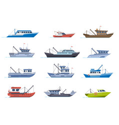 fisherman boats fishing commercial ships fisher vector image