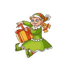 flat elf girl sitting with present box vector image