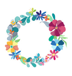floral wreath with simple color flowers vector image vector image
