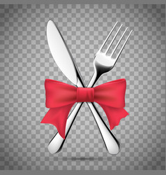 Fork with a table knife and a red ribbon vector