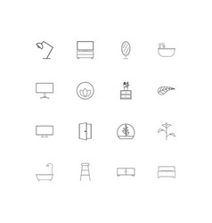 Furniture and home accents linear thin icons set vector