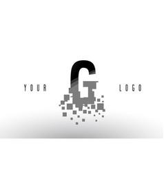 G pixel letter logo with digital shattered black vector