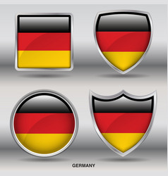 Germany flag in 4 shapes collection vector