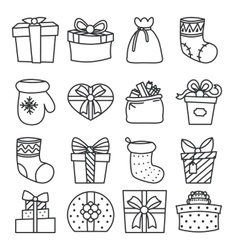 Gifts boxes bags socks lineart cartoon doodle vector