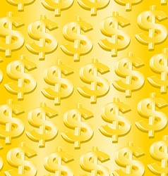 Gold dollar symbol in a seamless pattern vector