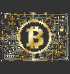 golden bitcoin digital currency background vector image