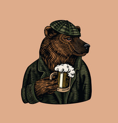 Grizzly bear with a beer mug brewer with a glass vector