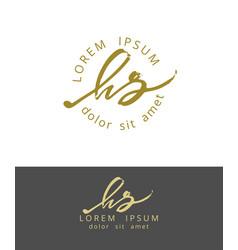 h s handdrawn brush monogram calligraphy logo vector image