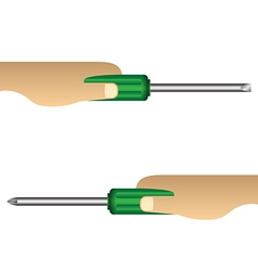 Hand holding screwdriver on white background vector image