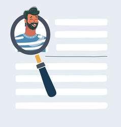 hand with magnifying glass focused on a person vector image