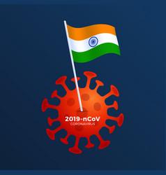 india flag coronavirus prevention flag vector image
