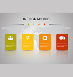 Infographic design template with four rectangles vector