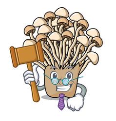 Judge enoki mushroom mascot cartoon vector