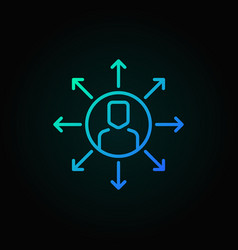 man in circle with arrows outline blue icon vector image