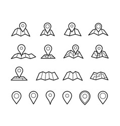 maps and pins icons vector image