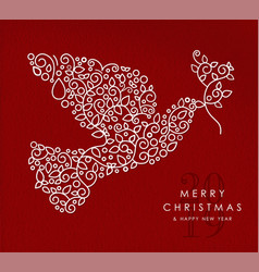 Merry christmas happy new year outline dove deco vector