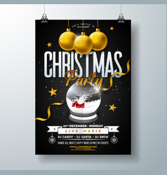 Merry christmas party flyer design with holiday vector