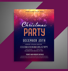 merry christmas sparkles party poster flyer vector image