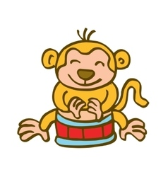 Monkey playing drum cartoon vector
