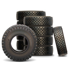 Old Truck Tire Set vector