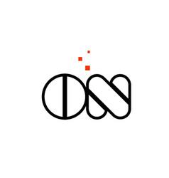 on o n black white red alphabet letter vector image