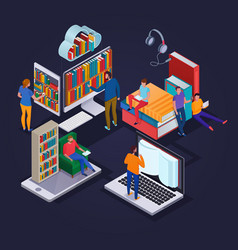 Online library isometric concept vector