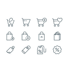 Online shopping line icons set on white background vector
