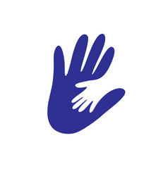 Parent and child s hand together logo concept vector