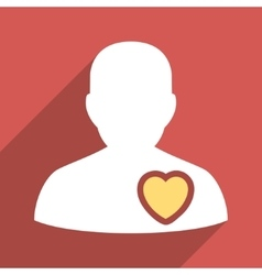 Patient Heart Flat Long Shadow Square Icon vector image