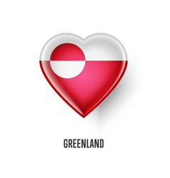 patriotic heart symbol with greenland flag vector image