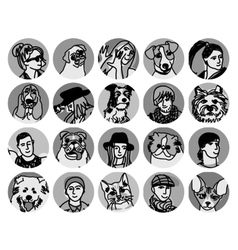 People and pets faces round icons gray scale set vector