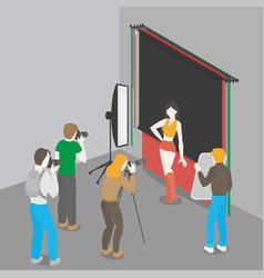 photographer shooting fashion model photo studio vector image