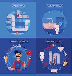 Plumbing concept posters set vector