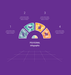 polygonal semicircle template infographic 4 vector image