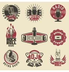 Radio labels retro record studio rock vector
