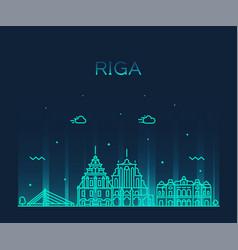 Riga skyline latvia trendy a vector