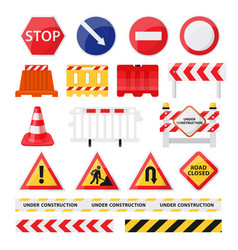 Road construction signs set city build and repair vector