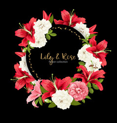 Rose and lily wedding invittion card vector