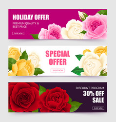rose banners set vector image