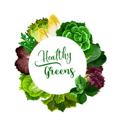 Salads and healthy veggies round frame vector
