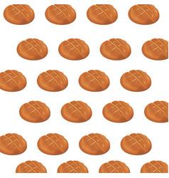 seamless pattern round bread bun baker vector image