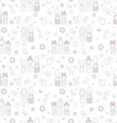 Seamless pattern with dolls kokeshi vector