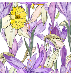 seamless season pattern with blue crocuses and vector image