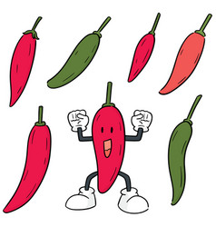 set chilli vector image