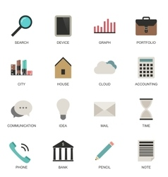 set flat style icons vector image