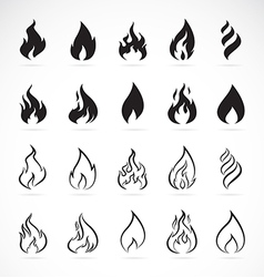 set of flame symbols vector image